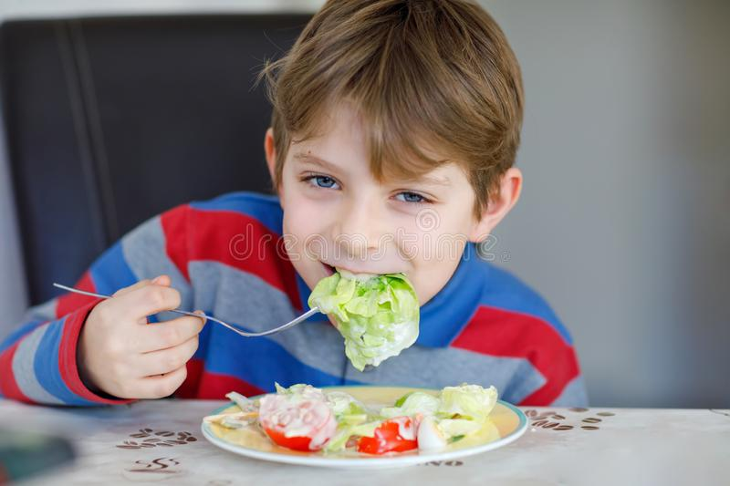 Happy kid boy eating fresh salad with tomato, cucumber and different vegetables as meal or snack. Healthy child enjoying. Tasty and fresh food at home or at stock photo