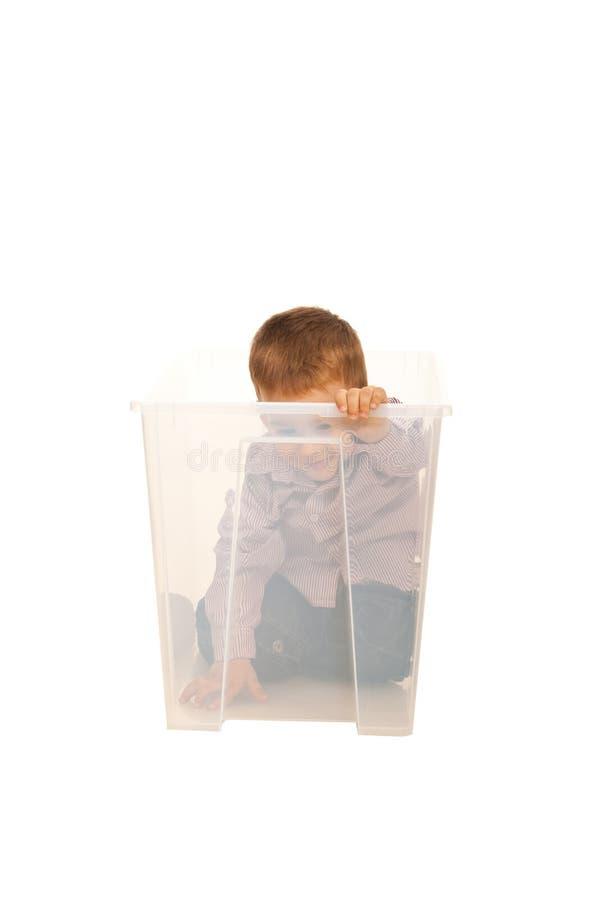 Happy Kid Boy Having Fun In A Box Stock Photo