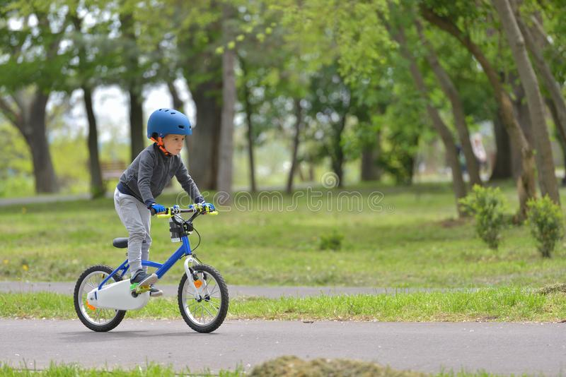 Happy kid boy of 5 years having fun in spring park with a bicycle royalty free stock photo