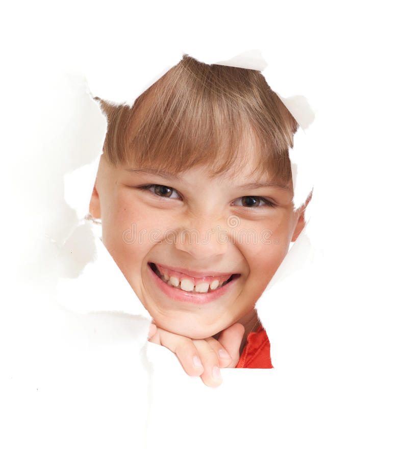 Happy kid or child torn paper hole isolated royalty free stock image