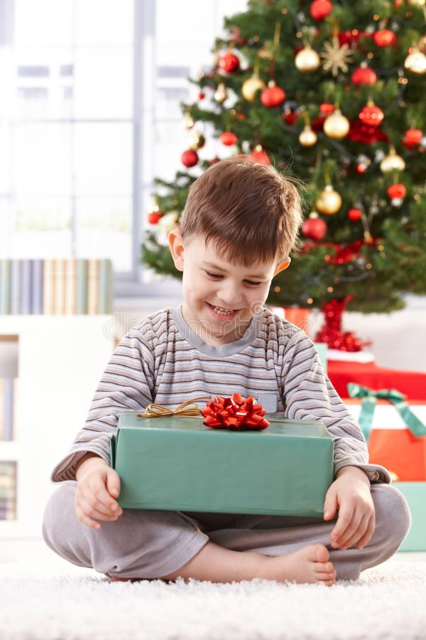 Happy kid with christmas gift. Happy kid sitting on floor at christmas tree with christmas gift, smiling stock images