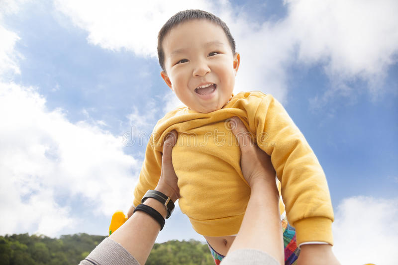 Download Happy  Kid With Cloud Background Stock Image - Image of outdoor, family: 29474921