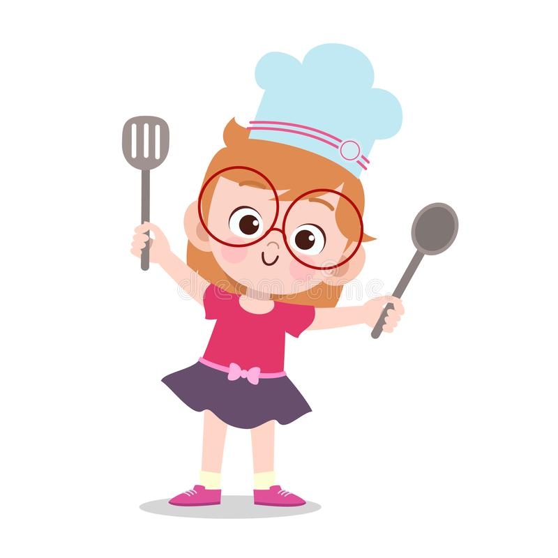 happy kid cooking chef vector illustration vector illustration