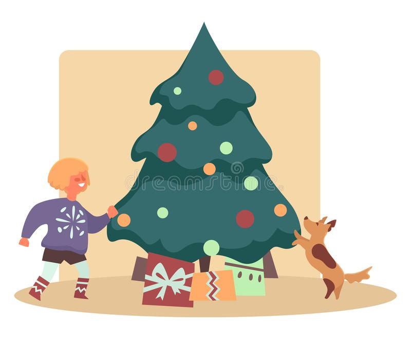 Happy kid with dog pet finding presents under Christmas tree royalty free illustration