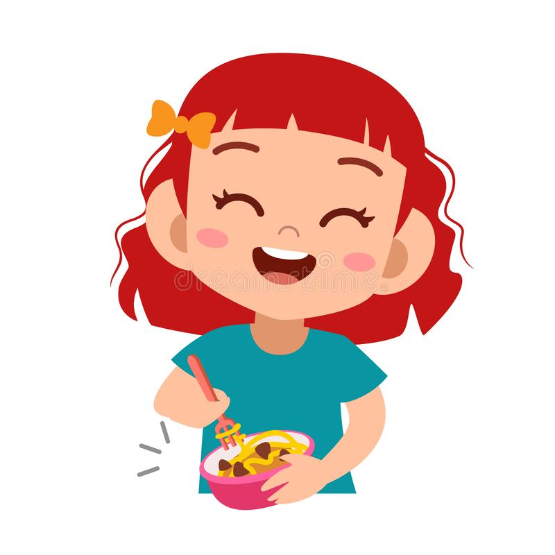 Free Happy Kid Eat Vector Illustration Royalty Free Stock Images - 157366309