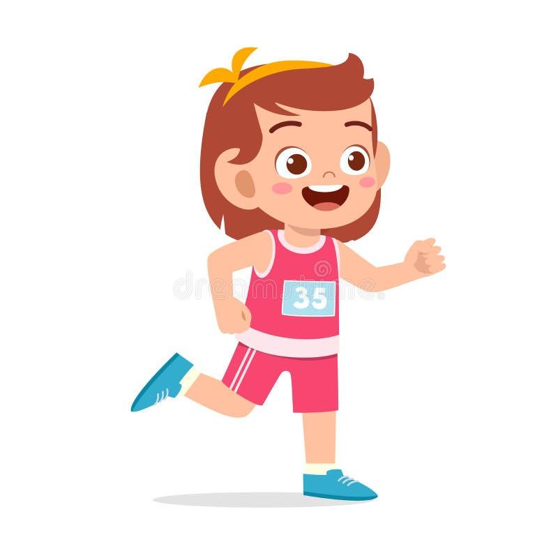 Happy kid girl train run marathon jogging. Cute, children, boy, fun, kinder, kindergarten, character, people, young, active, healthy, activity, sport, game vector illustration