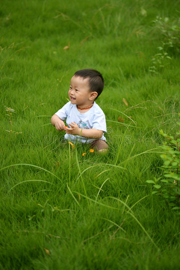 Happy kid in the grass stock photo