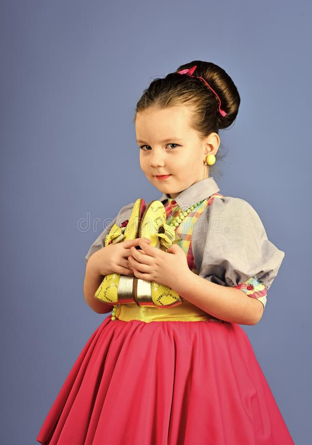 Happy kid having fun. beauty and fashion in pinup style, childhood. beauty and hair salon. stock images