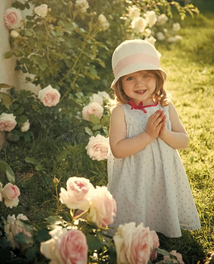 Happy kid having fun. Child smiling at blossoming rose flowers on green grass. Girl in hat with praying hands in summer garden. Future and flourishing stock photos