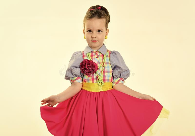Happy kid having fun. Fashion and beauty in pinup style, childhood. fashion and retro style. stock photos