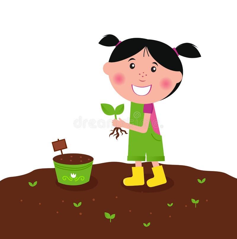 Happy kid is planting small plants on farm stock illustration