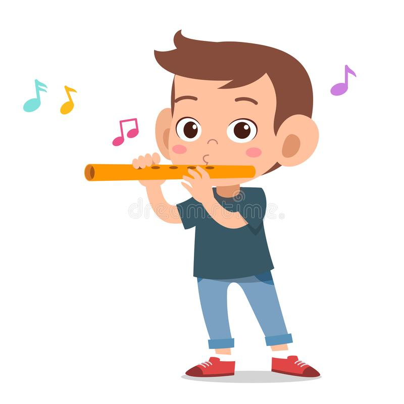 Free Happy Kid Play Flute Music Vector Royalty Free Stock Photo - 157366375