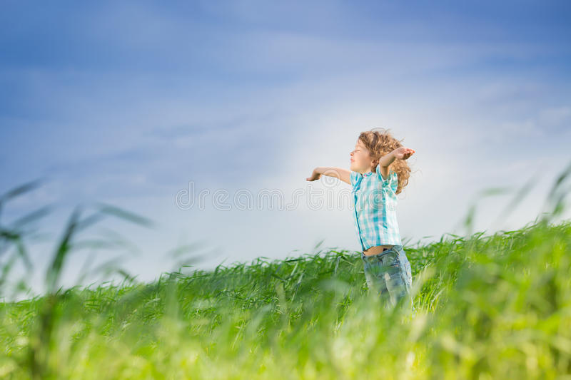 Download Happy kid with raised arms stock image. Image of girl - 37353683