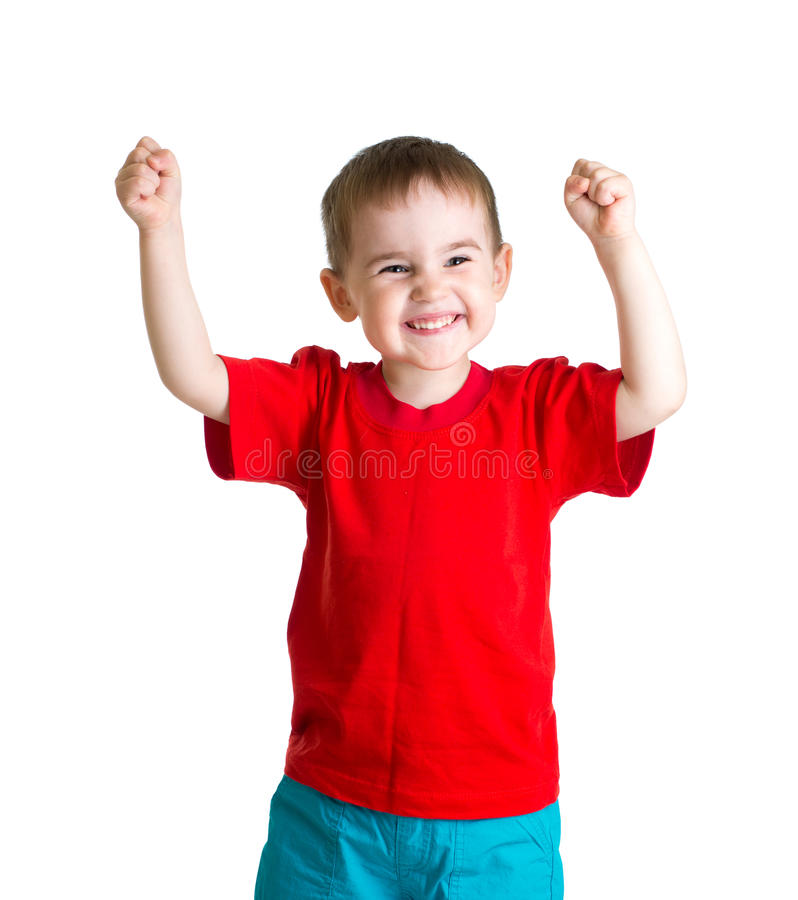 Happy kid in red tshirt with hands up isolated stock images