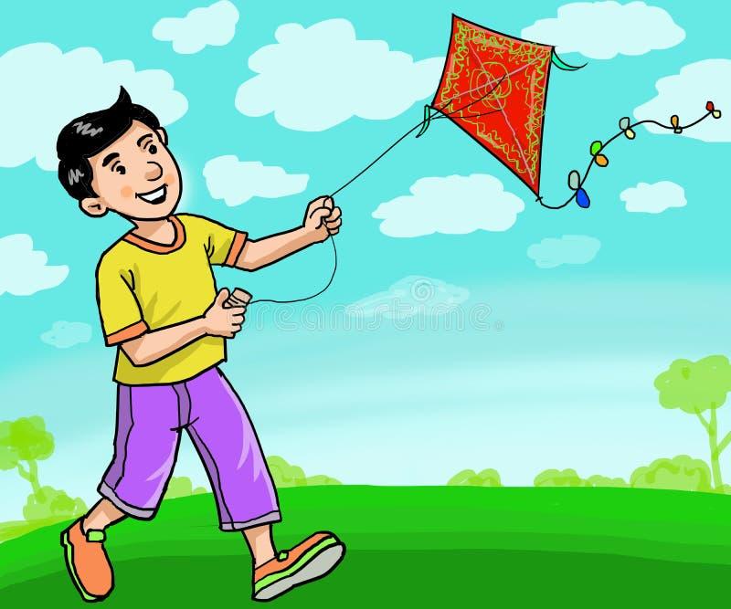Happy Kid speelt op het veld bij het park royalty-vrije illustratie