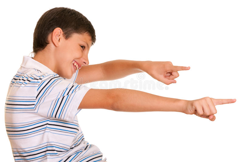Happy kid stretching hands towards his future stock images