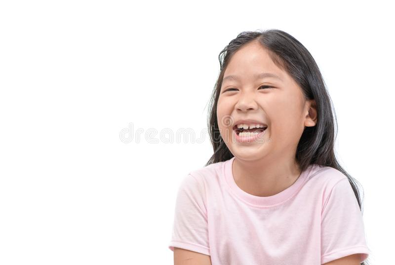 Happy kid student smile and Laugh. Isolated on withe background, fun and joyful concept stock photography