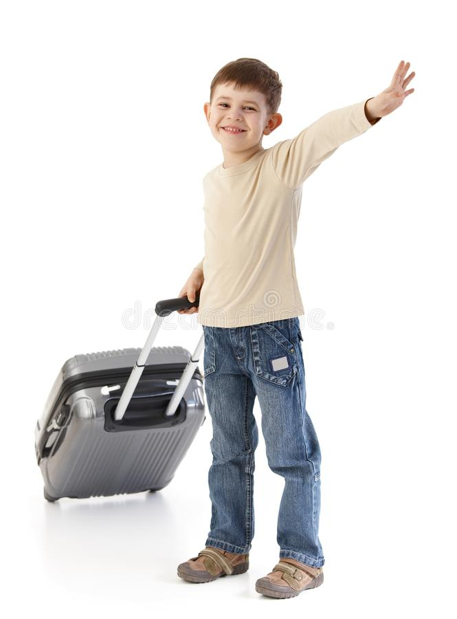Happy kid waving smiling royalty free stock images