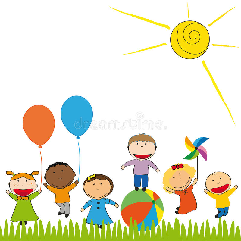 Download Happy kids stock vector. Image of boys, balloon, graphic - 25463083
