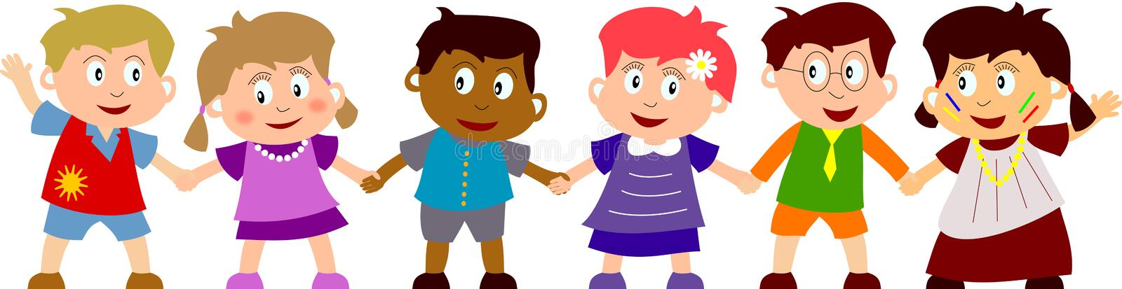 Happy Kids. Group of six happy multiculture kids holding hands. You can find many other illustrations of kids in my portfolio
