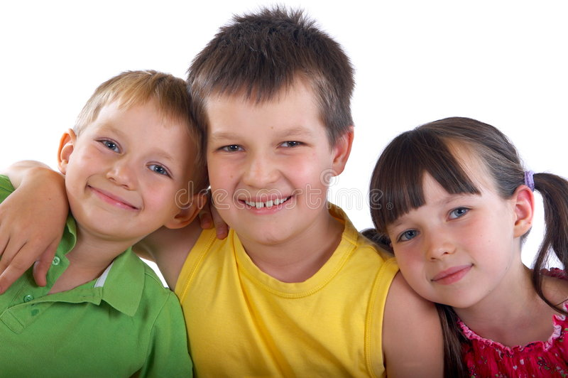 Happy kids. Appear to be brothers and sister but could also be friends