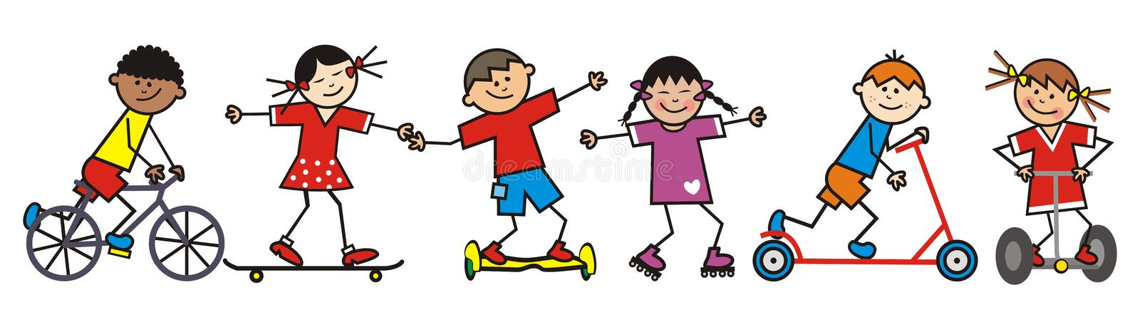 Happy kids as riders of different means transport, eps. Happy kids, riders, funny vector illustration.  Group of children on different means of transport stock illustration