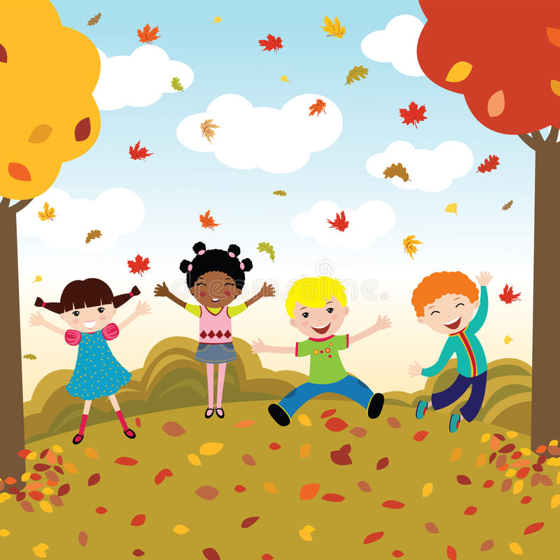 Happy kids in autumn royalty free illustration