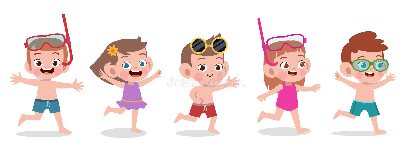 Happy kids beach holiday vector illustration isolated vector illustration