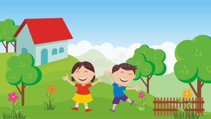 Happy Kids with beautiful landscape stock illustration