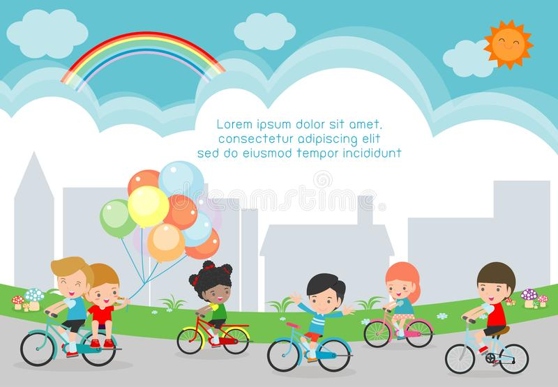 Happy kids on bicycles, Child riding bike, Healthy cycling with kids in park, group of kids biking on background. Template for advertising brochure,your text vector illustration
