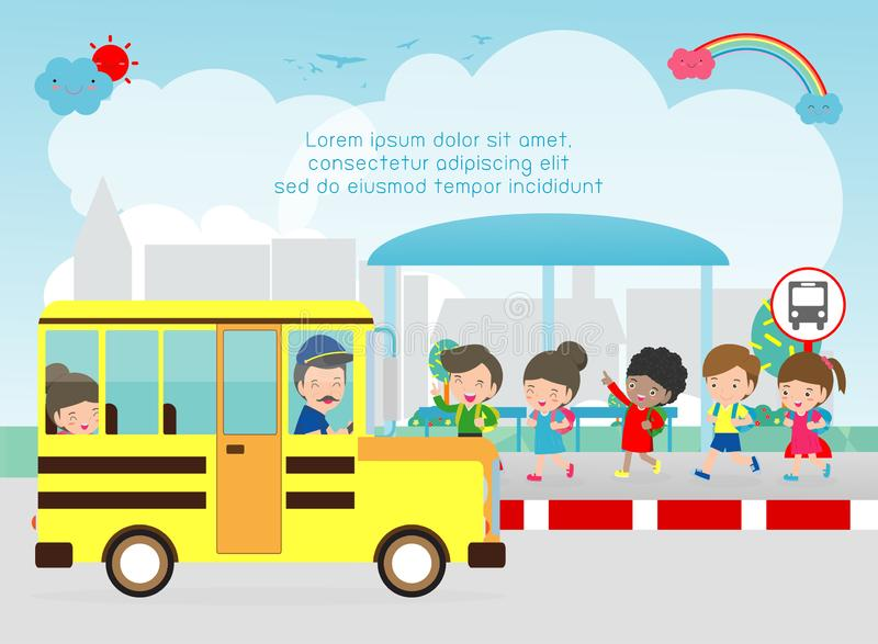 Happy kids boarding a school bus. Different ages children going back to school. Waiting a school bus on a bus stop. Template for advertising brochure, your royalty free illustration