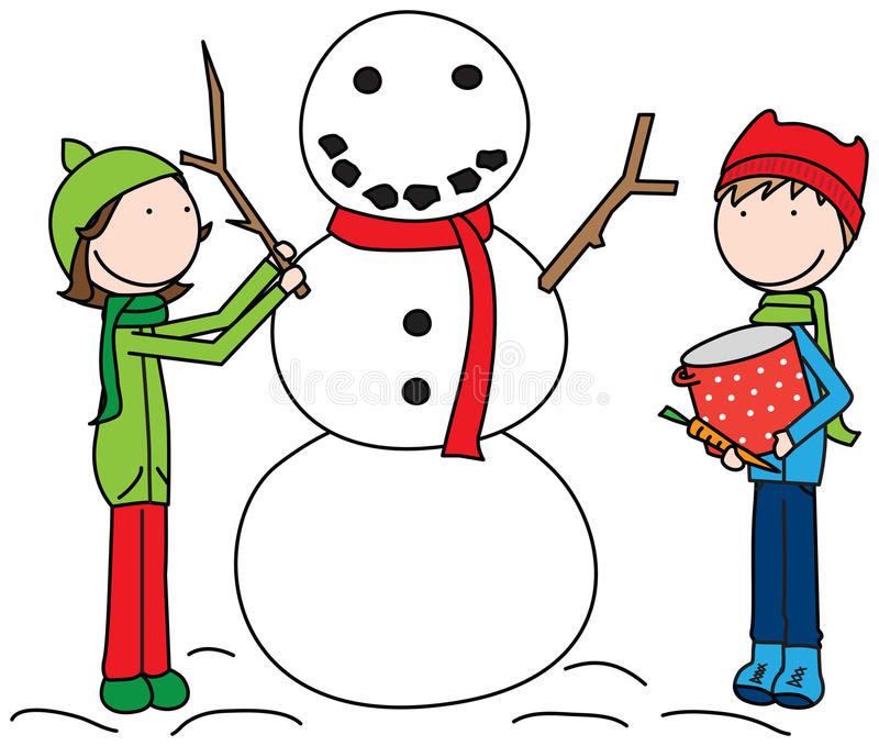 Happy Kids building a snowman. Cartoon illustration of a girl and a boy building snowman vector illustration