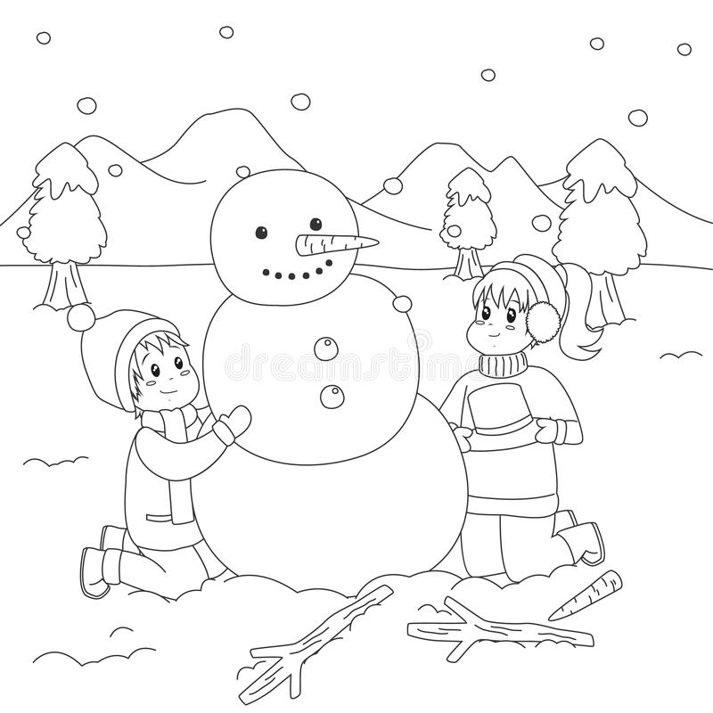 Download Happy Kids Building A Snowman. Coloring Page Cartoon Vector Stock  Vector   Illustration Of