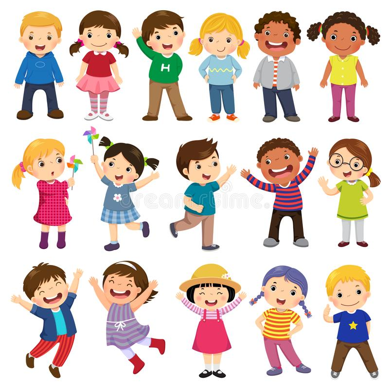 Happy kids cartoon collection. Multicultural children in different positions isolated on white background royalty free illustration