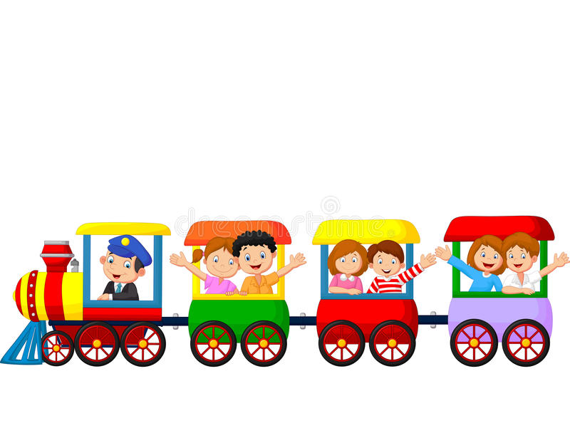 Happy kids cartoon on a colorful train stock illustration