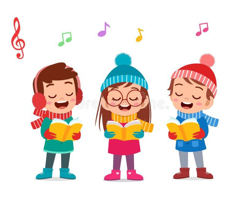 happy kids christmas sing musical vector illustration