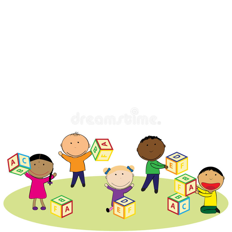 Happy kids and colorful blocks stock illustration
