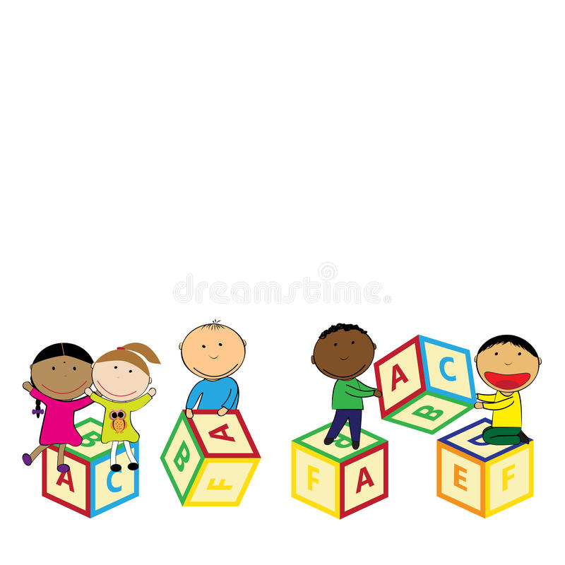 Happy kids and colorful blocks royalty free illustration