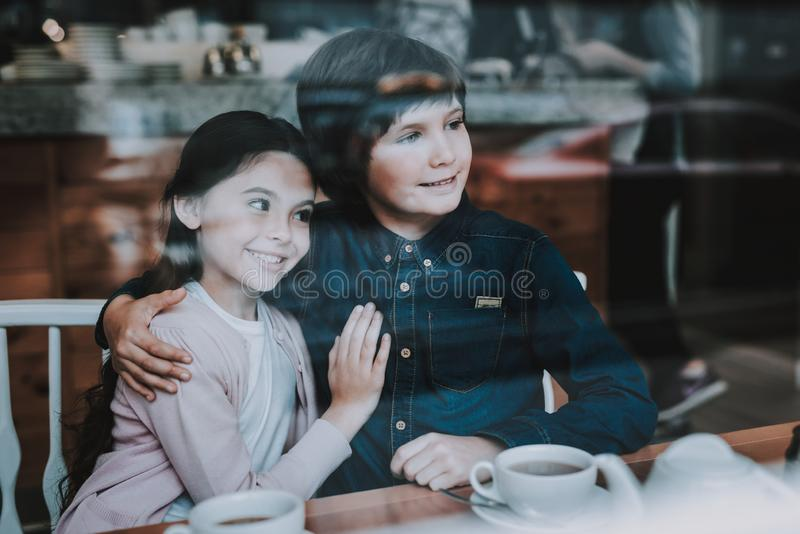 Happy Kids. Cute Relationship. Drink Tea Together. stock image