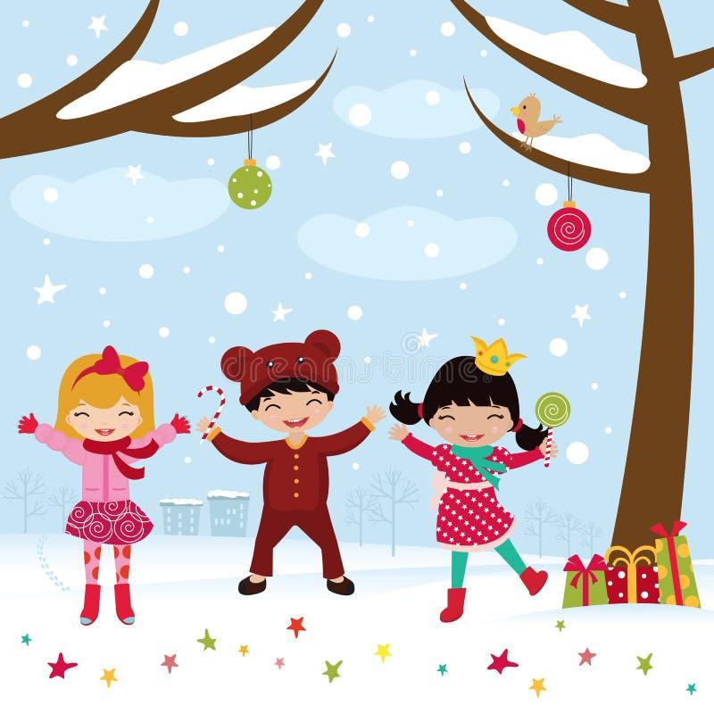 Download Happy Kids Dancing In Christmas Stock Vector - Illustration: 21878415