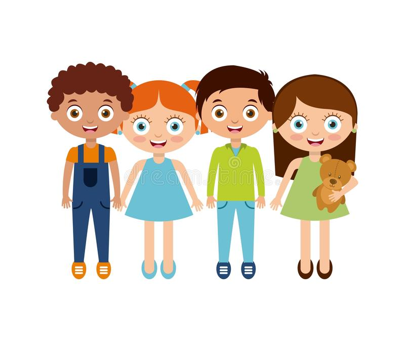 Happy kids design. Happy cute kids over white background. colorful design. illustration vector illustration