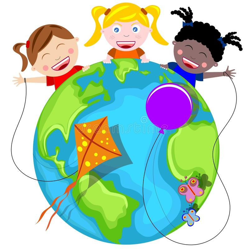 Download Happy Kids and Earth stock illustration. Image of diversity - 27388818