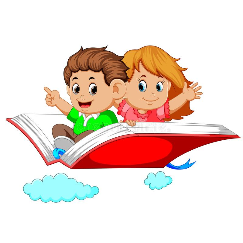 Happy kids flying on big open book. Illustration of happy kids flying on big open book stock illustration