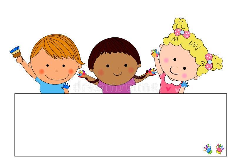 Happy kids and frame stock illustration