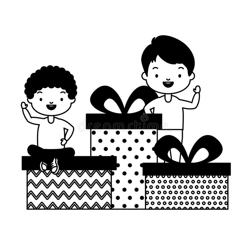 Happy kids with gifts stock illustration
