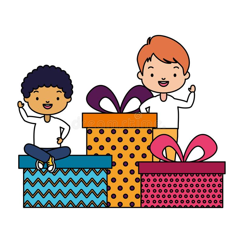 Happy kids with gifts vector illustration
