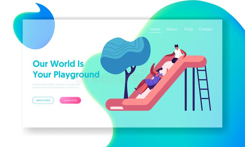 Happy Kids Girls Having Fun Sliding on Outdoor Playground. Children Playing on Slide, Active Games on Street. Summer Vacation. Website Landing Page, Web Page royalty free illustration