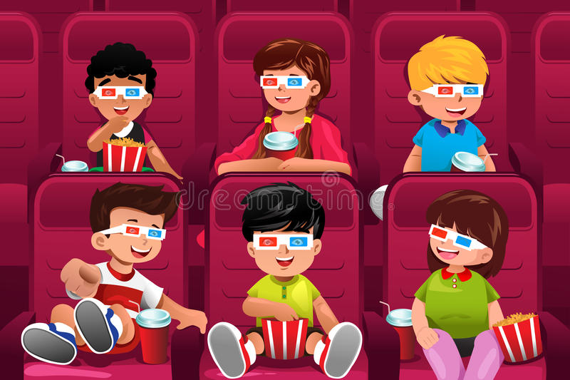 Happy kids going to a movie stock illustration