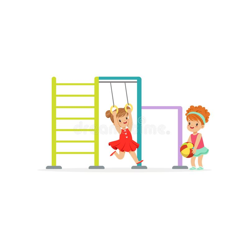 Happy kids having fun on playground in kindergarten. Equipment for child play area in park. Flat girls characters royalty free illustration