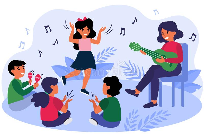 Happy kids having fun during their music class. Teacher and children playing guitar, clapping hands, dancing and singing at daycare preschool. Vector royalty free illustration